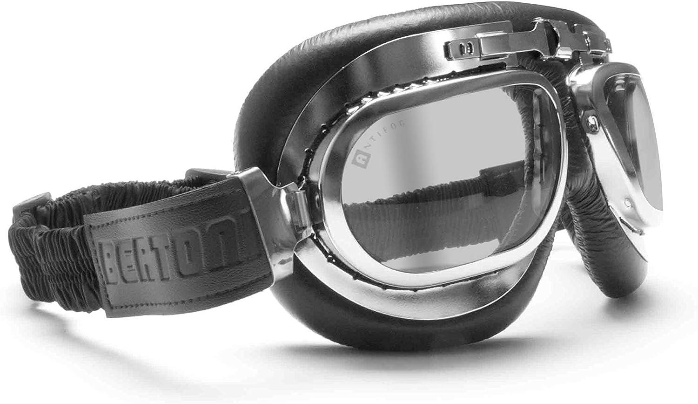 BERTONI Gafas Moto Mascara Vintage Aviadoras - Montura de Acero Cromado - Lentes Anti-Vaho Resistente a los Impactos (Negro - Lentes Gris Claras)