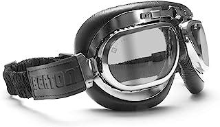 Bertoni Motorcycle Vintage Aviator Goggles Chrome Plating Steel - Antifog Lens - AF191CR by Bertoni Italy