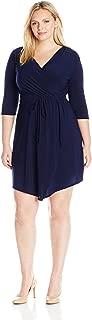 Women's Plus-Size 3/4 Sleeve Wrap Bodice Short Ity Knit Ballerina Dress