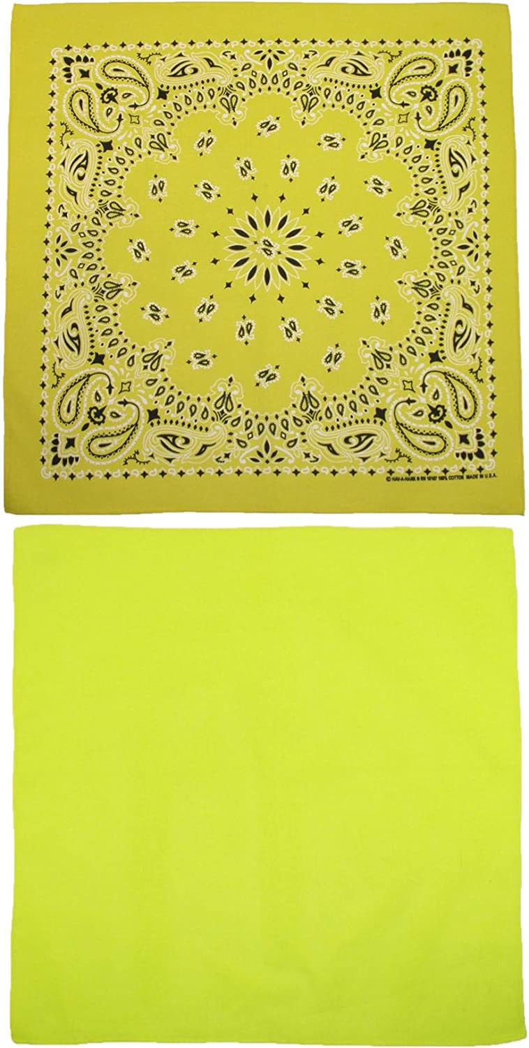 CTM Cotton Solid and Paisley Print 2 Max 70% OFF Kit Pack Special price of Neon Bandana