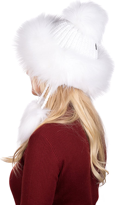 Sarah B Tatra Mütze Birendy Mütze mit Fleecefutter, Pudelmütze, Wintermütze mit Fellbommeln aus Fellimitat, Handarbeit aus EU Weiß mit Lurex 138