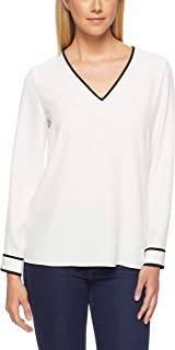 Calvin Klein Women's V- Neck Top with Piping