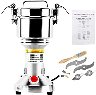 Homend High Speed 500g Electric Grain Mill Grinder Powder Machine Spice Herb Grinder 2500W 70-300 Mesh 36000RPM Stainless Steel Commercial Grade for Kitchen Herb Spice Pepper Coffee (500g)