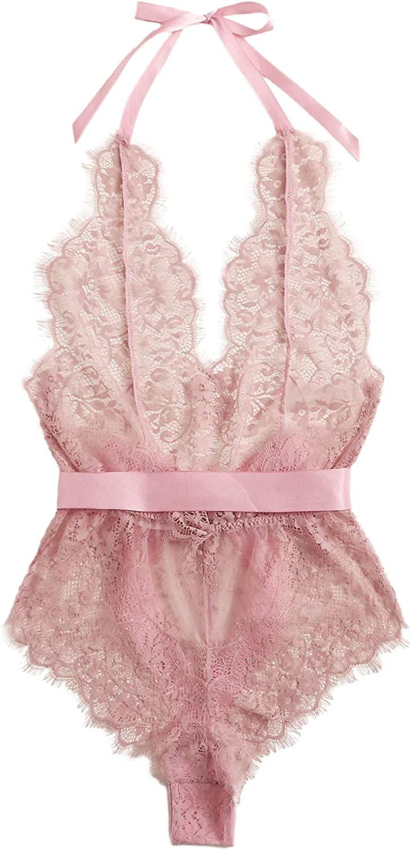SheIn Women's One Piece Lingerie Sheer Lace Halter Teddy Bodysuit Backless Nightwear