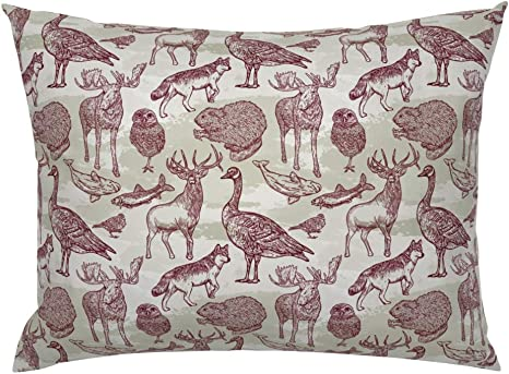 Canadiana Woodland Forest Animals Euro Knife Edge Pillow Sham Into The Wild Animal Pattern Samposnick Nature Rustic Moose Caribou Owl Wolf Brown Green By Samposnick 100 Cotton Sateen Home Kitchen