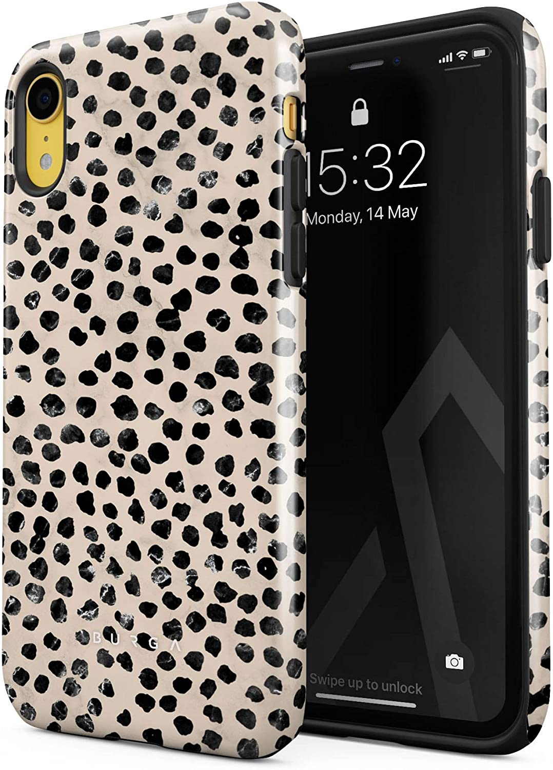BURGA Phone Case Compatible with iPhone XR - Black Polka Dots Pattern Nude Almond Latte Fashion Cute for Girls Heavy Duty Shockproof Dual Layer Hard Shell + Silicone Protective Cover