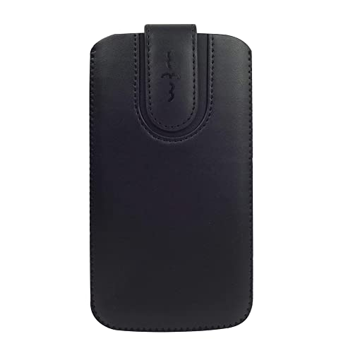 Emartbuy Faux Leather Slide in Pouch Case Cover with Magnetic Flap for Apple iPhone X (15.5x8.5x1cm) - Black Plain