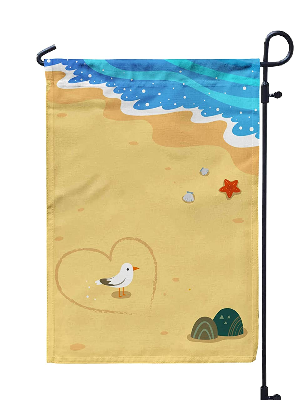 Shorping Welcome Garden Flag, 12x18Inch Seagull Beach Scenery for Holiday and Seasonal Double-Sided Printing Yards Flags