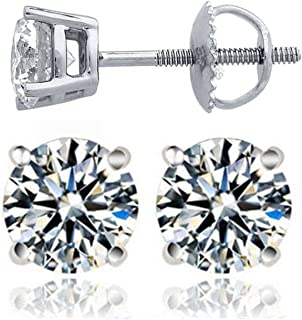 Venetia Top Grade Hearts & Arrows Cut NSCD Simulated Diamond Solitaire Earrings Screw Back Platinum Plated Solid 925 Silver 4 Prongs Round Realistic Earstuds 0.5 1 2 3 4 carats different sizes