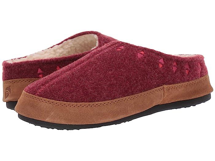 Acorn  Geo Embroidered Hoodback (Garnet) Womens Slippers
