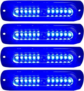 WOWTOU Emergency Red White Grille Light Head Law Enforcement Vehicles etc. 16W Bright Linear LED Mini Strobe Lightbar Surface Mount for Police Car