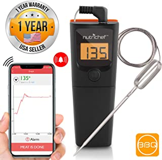 NutriChef PWIRBBQ90 Bluetooth Meat Thermometer - for Grilling Smart Wireless Kitchen Remote Instant Read BBQ Temperature Probe for Grill, Oven, Smoker, Cooking, Smoking Food w/ Digital LCD Display