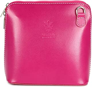 Belli ital. Ledertasche Damen Umhängetasche Handtasche Schultertasche - 17x16,5x8,5 cm B x H x T Pink