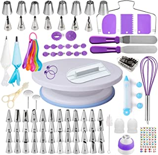 Cake Decorating Supplies Kits 137 pcs Set, Piping nozzles Baking Tools, 1 Nonslip Turntable stand-55 Numbered Icing Tips w...