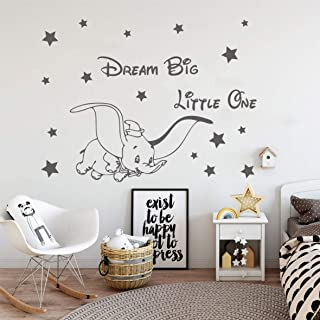 Vinyl Wall Decor Fly Dumbo Dream Big Little One Wall Sticker Cute Elephant Stars Mural Kids Baby Room Decoration Stickers ...