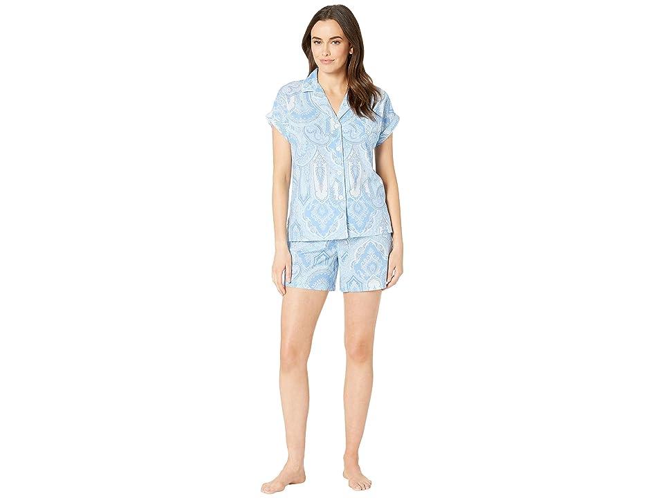 b87230d529ea LAUREN Ralph Lauren Dolman Sleeve Notched Collar Boxer Pajama Set (Blue  Paisley) Women s Pajama Sets