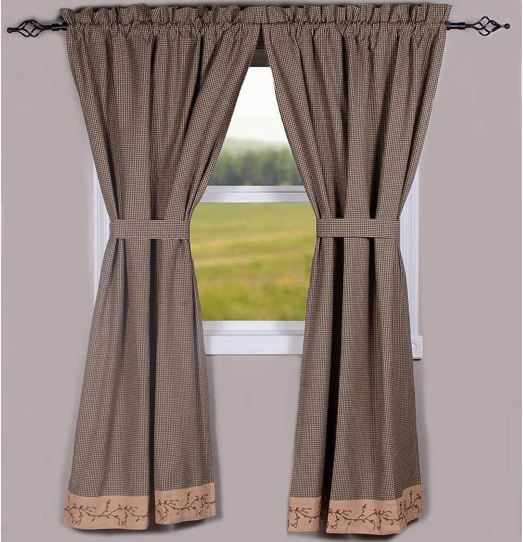 Primitive Home Decors Berry Vine Gingham Curtain Panels - Black