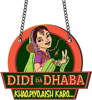 YaYa cafe Didi Dhaba Wooden Kitchen Wall Door Hanging, 13x10 Inches,Orange