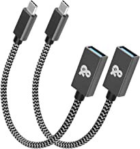 USB C to USB 3.0 Adapter [8 inch 2 Pack], ANDNOVA Type C OTG Cable USB C(Thunderbolt 3) Male to USB A Female Compatible with MacBook (Pro), Samsung Galaxy Note 10 S10 S9 S8 Note 8 9, Pixel 2 3 XL