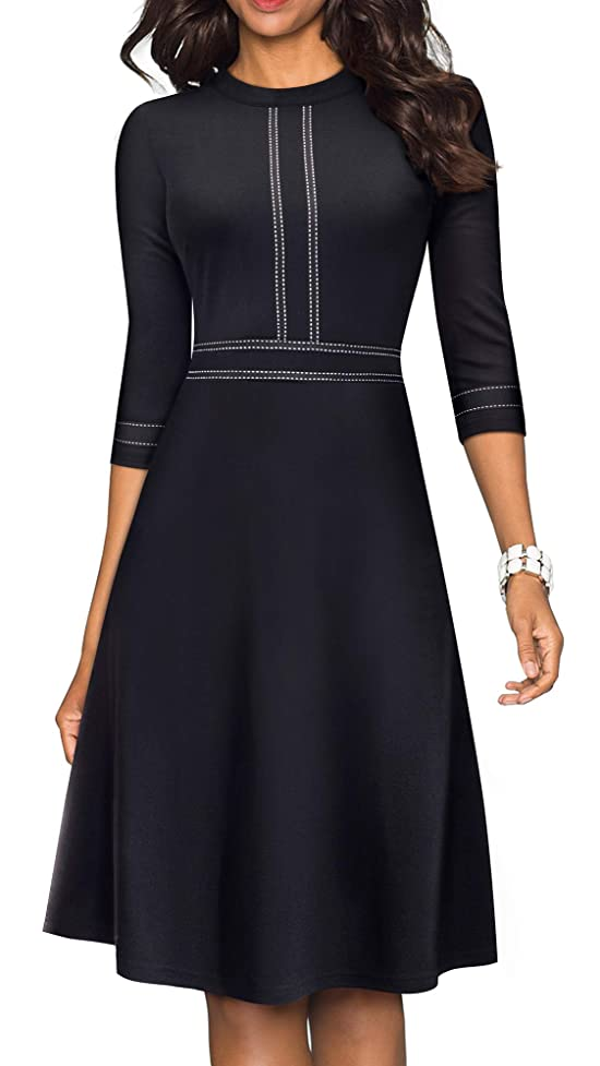 HOMEYEE Women's Chic Crew Neck 3/4 Sleeve Party Homecoming Aline Dress A135 bjr404217791929