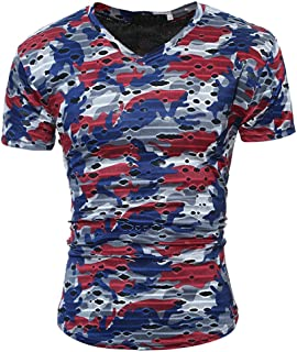 Men's Tops Camouflage Fitted Personality Men's Casual Slim Printed Short Sleeve T Shirt