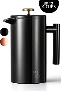 FLOH French Press for Coffee & Tea in Black - Large 4 Cup Insulated Stainless Steel Coffee Maker