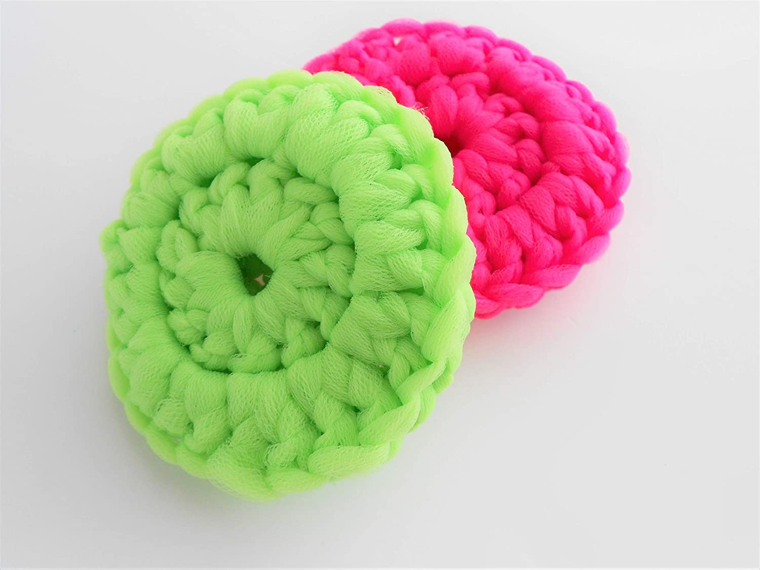 Set of 2 Bright Pink and Neon Scrubbies size Round Green New Tulsa Mall York Mall 3.5 Inc