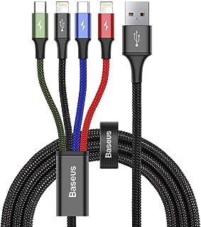 ライトニングケーブル 4in1 ケーブル 3in1 充電ケーブル Baseus USB Type-C/ライトニング/USB Micro 充電ケーブル 一本四役 iOS/Android 同時給電可能 3.5A急速充電 高速データ転送 ナイロン編み iPhone/Galaxy/Huawei/Macbook等全機種対応 1.2M (4in1 ブラック)