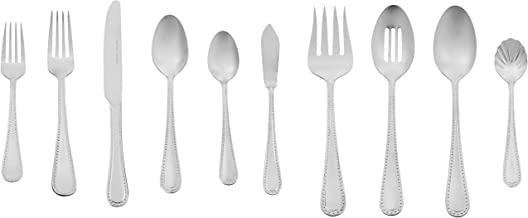 AmazonBasics 65-Piece Stainless Steel Flatware Set with Pearled Edge, Service for 12