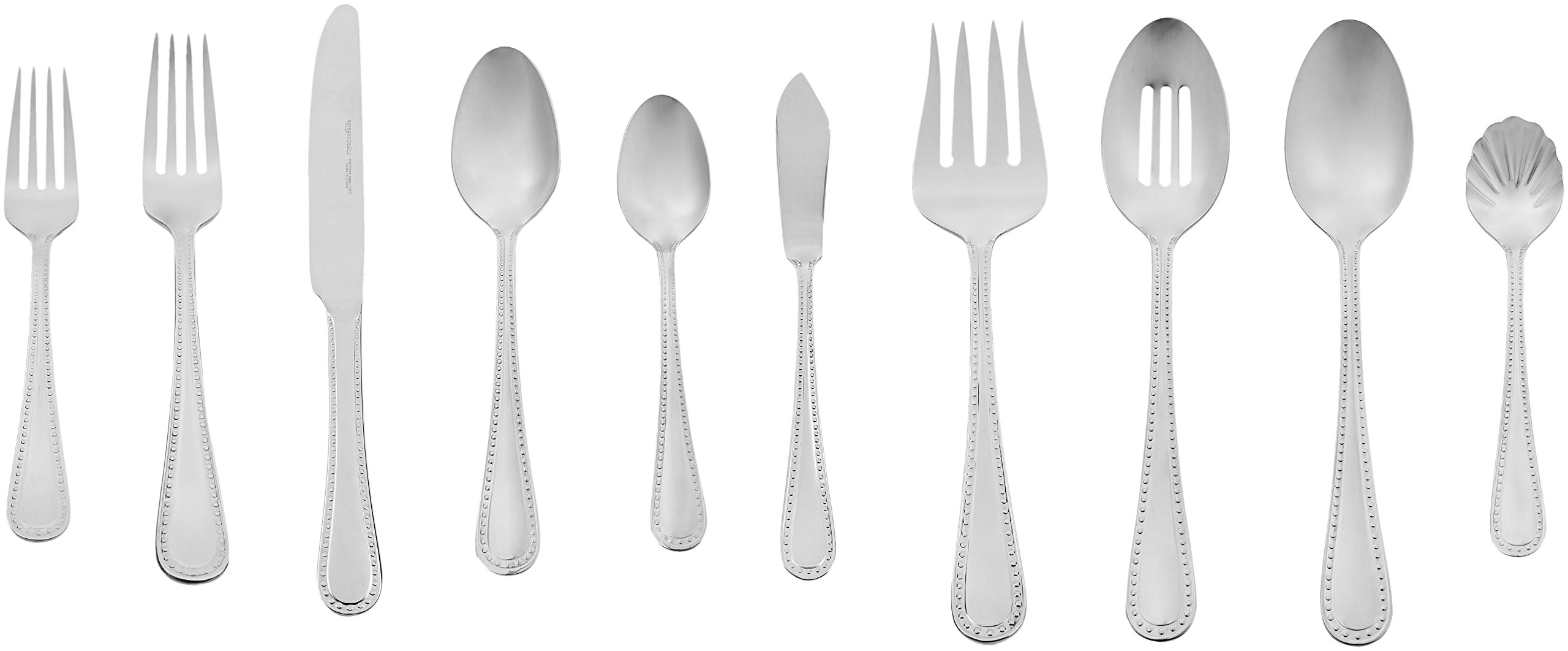 AmazonBasics 65 Piece Stainless Flatware Pearled