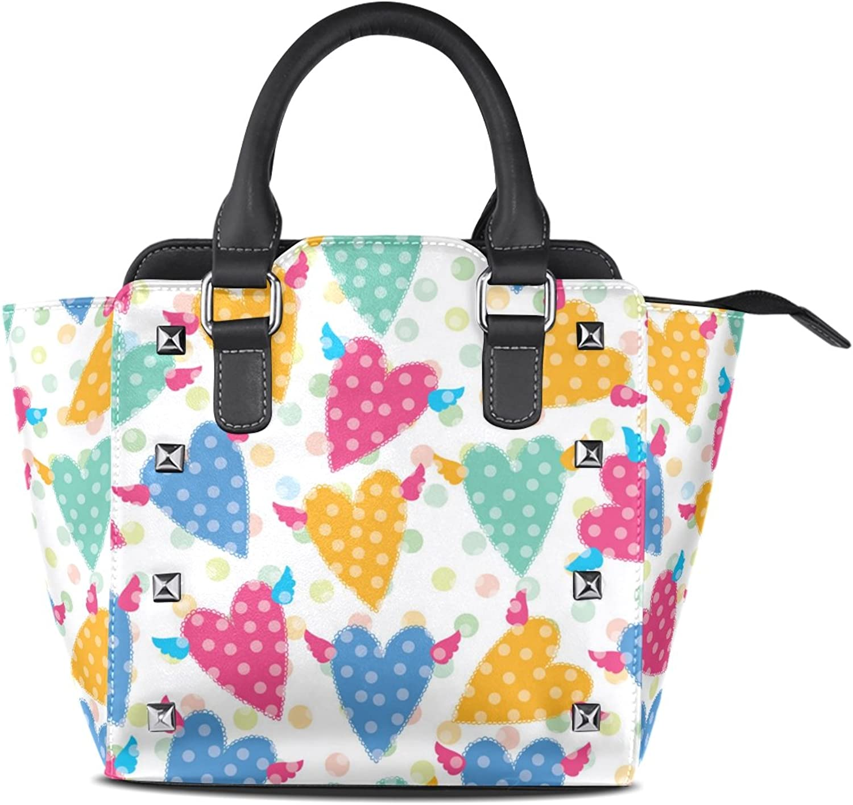 My Little Nest Women's Top Handle Satchel Handbag Polka Dots Hearts Ladies PU Leather Shoulder Bag Crossbody Bag