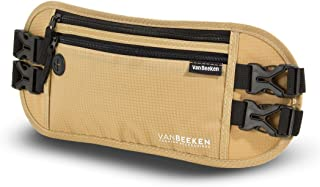 VAN BEEKEN RFID Travel Money Belt Hidden Money Belts for Travel for Men and Women I Travel Belt Money Pouch Slim Travel Fanny Pack I Waist Bags Waist Wallet Running Belt Wallet Waist Pouch (Beige)