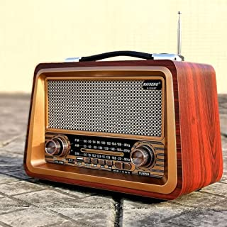 Wireless Bluetooth Retro Radio, Wooden AM SW FM Speaker, Mini Old Fashioned Style, Strong Bass, Built-In Large-Capacity Po...