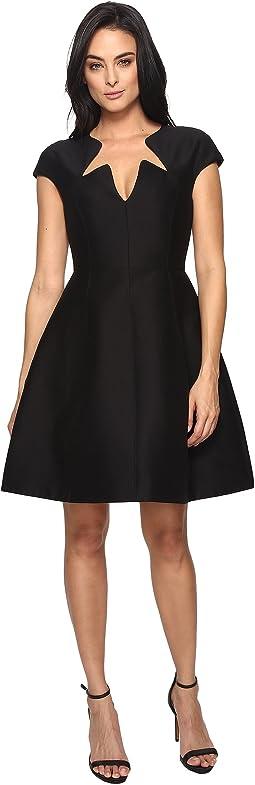 Cap Sleeve Notched Neck Silk Faille Dress
