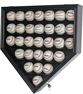 30 Baseball Display Case Cabinet Holder Rack Home Plate Shaped w/UV Protection- Lockable B30H-BL