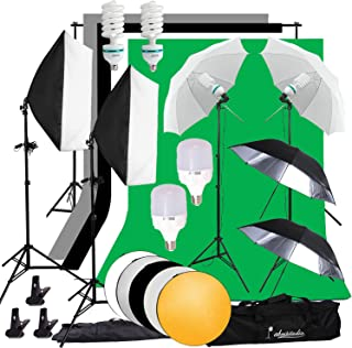 Abeststudio Adjustable 2 x 3M/6.6 x 10ft Background Support System 4X Backdrop Fabric (black, white, green, gray), 2x 135W Bulb 2x 25W LED Lamp Umbrellas Softbox Continuous Lighting Kit for Photo Studio Product,Portrait and Video Shoot Photography