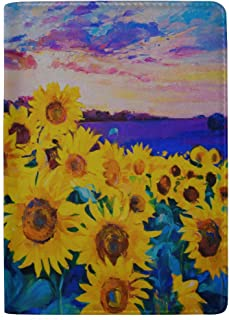 Yellow and Beautiful Sunflowers Field Blocking Print Passport Holder Cover Case Travel Luggage Passport Wallet Card Holder Made with Leather for Men Women Kids Family