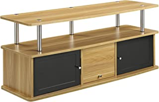 Convenience Concepts Designs2Go TV Stand with 3 Cabinets, Light Oak