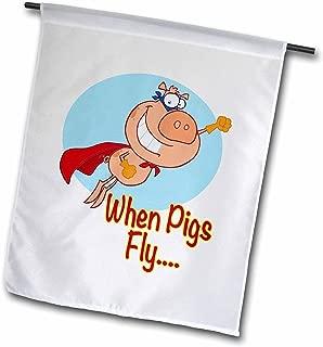 3dRose fl_118845_1 When Pigs Fly Super Hero Flying Piggy Pig Cartoon Humor Garden Flag, 12 by 18-Inch
