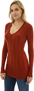 PattyBoutik Women's V Neck Ribbed Tunic Knit Top