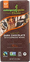 Endangered Species Chocolate Tiger Bar; Dark Chocolate with Expresso Beans, 3 Ounce - 12 per case.