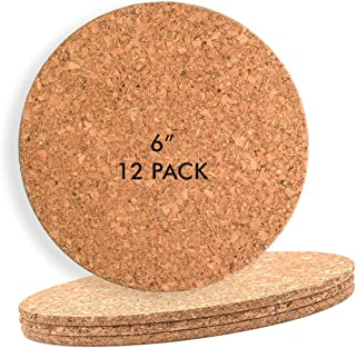 "Cork Mat 6""x 1/8"" Round (12 Pack) Hot Pot, Cup, Mug Place-mat or Small Planter"