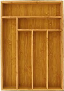 Large Silverware Drawer Organizer, Bamboo-Like Drawer Divider (17 x 12 x 2 In)