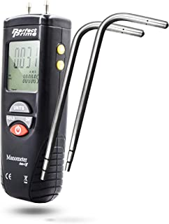 PerfectPrime AR1890P2, Digital Air Pressure Manometer to Measure Gauge & Differential Pressure ±13.79kPa / ±2 psi / ±55.4 H2O with pair of 304 Stainless Steel Static Tube 5.13