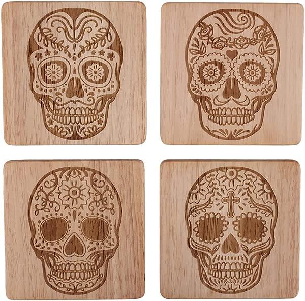 Skull Head Skull Home Decor Sugar Skull Coasters Sugar Skull Decor Sugar Skull Drink Coasters Skull Decorations Skull Coaster Set Of 4 Day Of The Dead Decorations