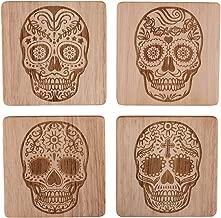 Skull Head Skull Home Decor Sugar Skull Coasters Sugar Skull Decor Sugar Skull Drink Coasters Skull Decorations Skull Coaster Set of 4, Day of the Dead Decorations