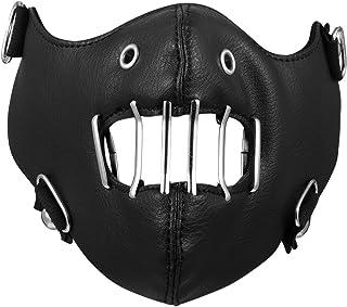 Aroncent マスク フェイスマスク バイクマスク レザーハーフマスク おしゃれ かっこいい 防風 夜間騎行 コスプレ 仮装パーティー ロック系 パック系 ゴシック ハロウィン アクセサリー