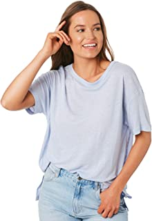 Nude Lucy Women's Atwood Slouchy Tee Crew Neck Short Sleeve Viscose Blue