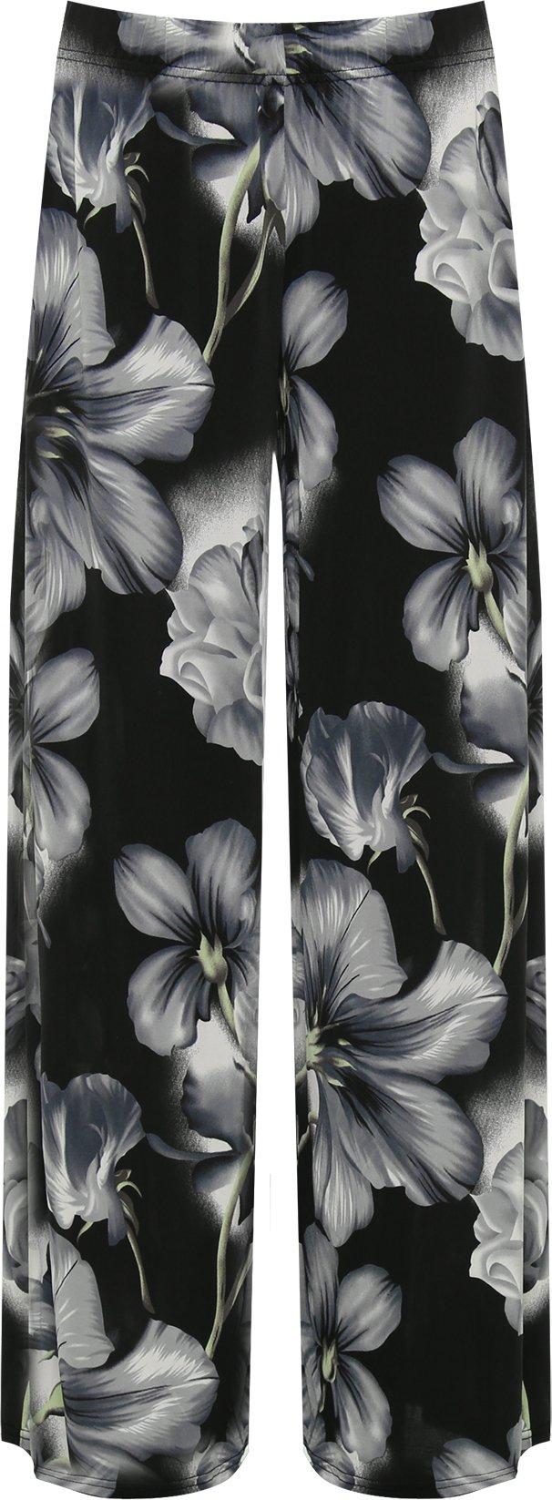 Femmes Plus Floral Imprimer Palazzo Pantalon Lades Évasée Large Jambe Pantalon Étendue - 42-56