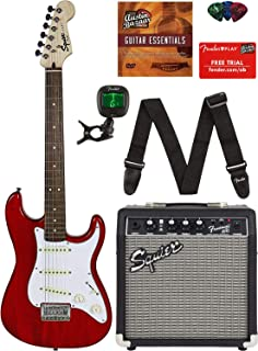 Squier by Fender Short Scale Stratocaster - Transparent Red Bundle with Frontman 10G Amp, Cable